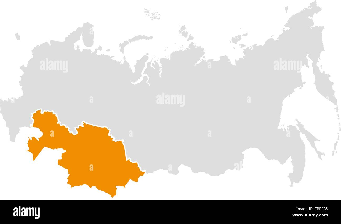 Map of the Russian Federation and Kazakhstan Stock Vector Art ...