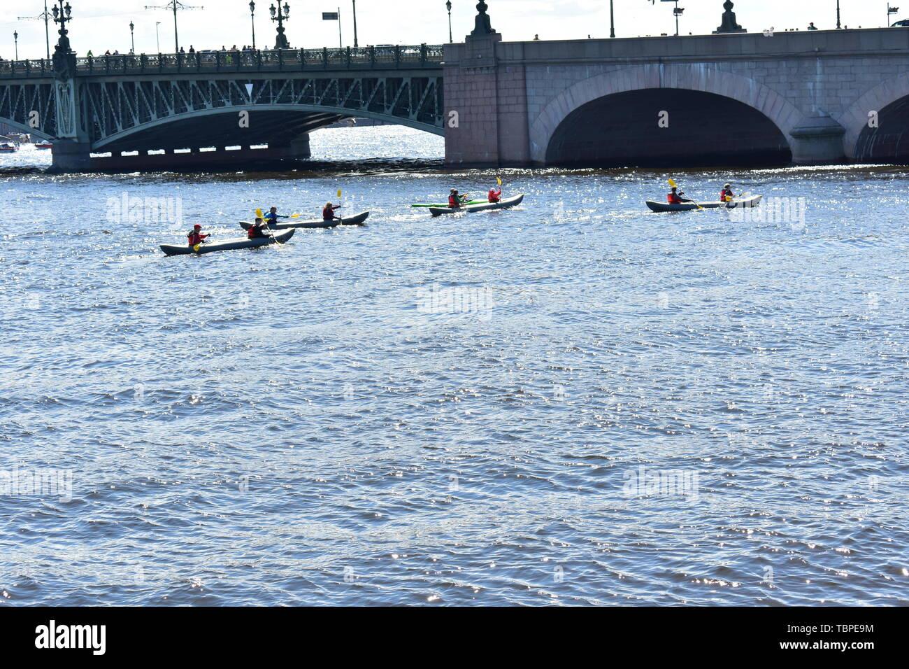 Water sport Kayking. Neva river. St.Petersburg - Stock Image