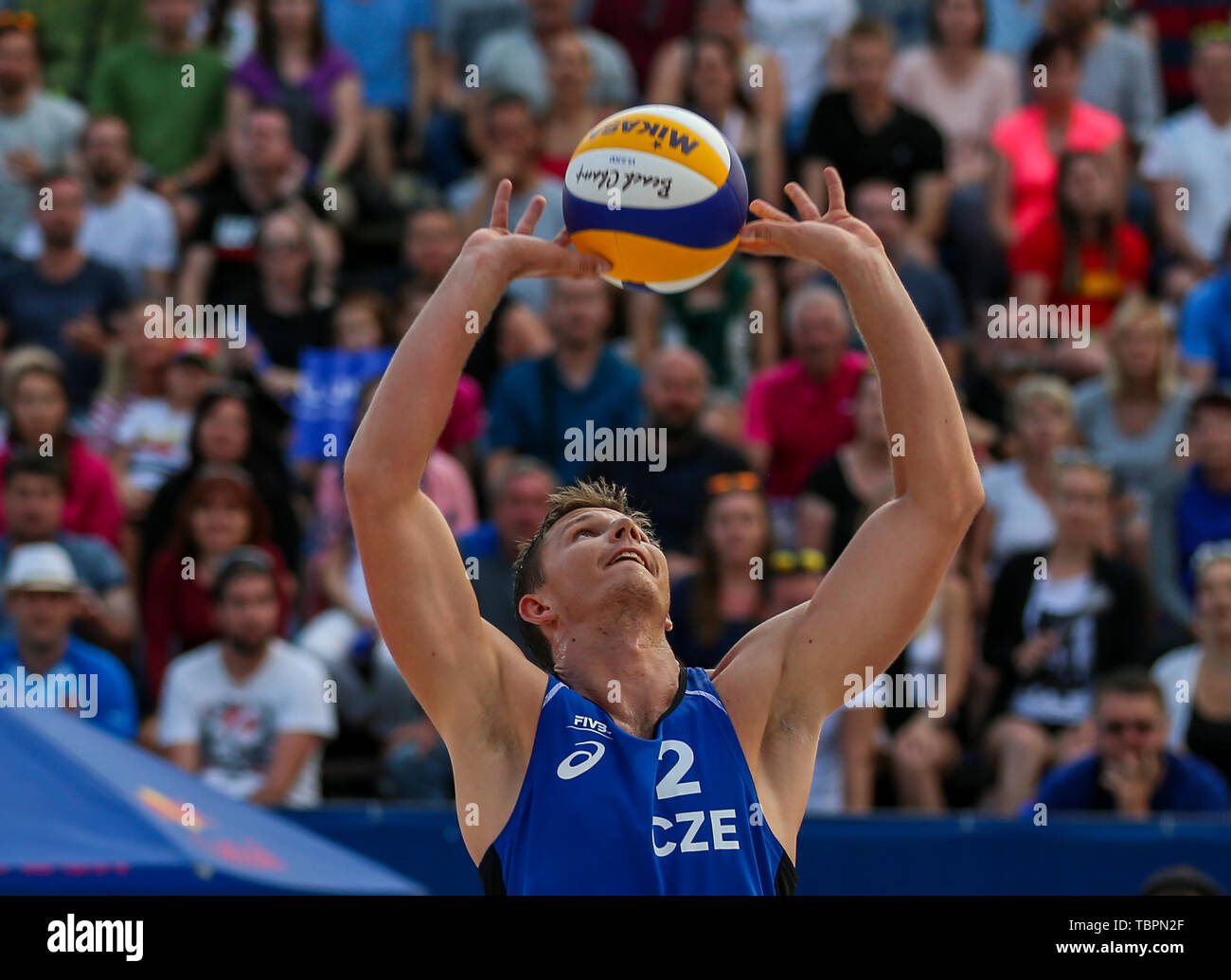 Ostrava, Czech Republic. 01st June, 2019. David Schweiner (Czech) in action during the four-star J&T Banka Ostrava Beach Open 2019, part of the FIVB Beach Volleyball World Tour, in Ostrava, Czech Republic, on July 1, 2019. Credit: Vladimir Prycek/CTK Photo/Alamy Live News Stock Photo