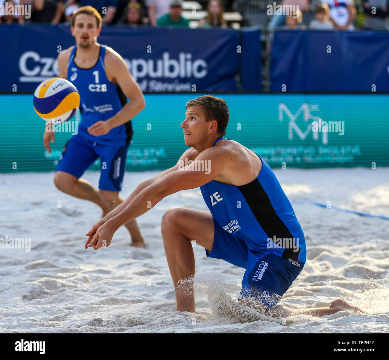 Ostrava, Czech Republic. 01st June, 2019. R-L David Schweiner and Ondrej Perusic (Czech) are seen during the four-star J&T Banka Ostrava Beach Open 2019, part of the FIVB Beach Volleyball World Tour, in Ostrava, Czech Republic, on July 1, 2019. Credit: Vladimir Prycek/CTK Photo/Alamy Live News Stock Photo