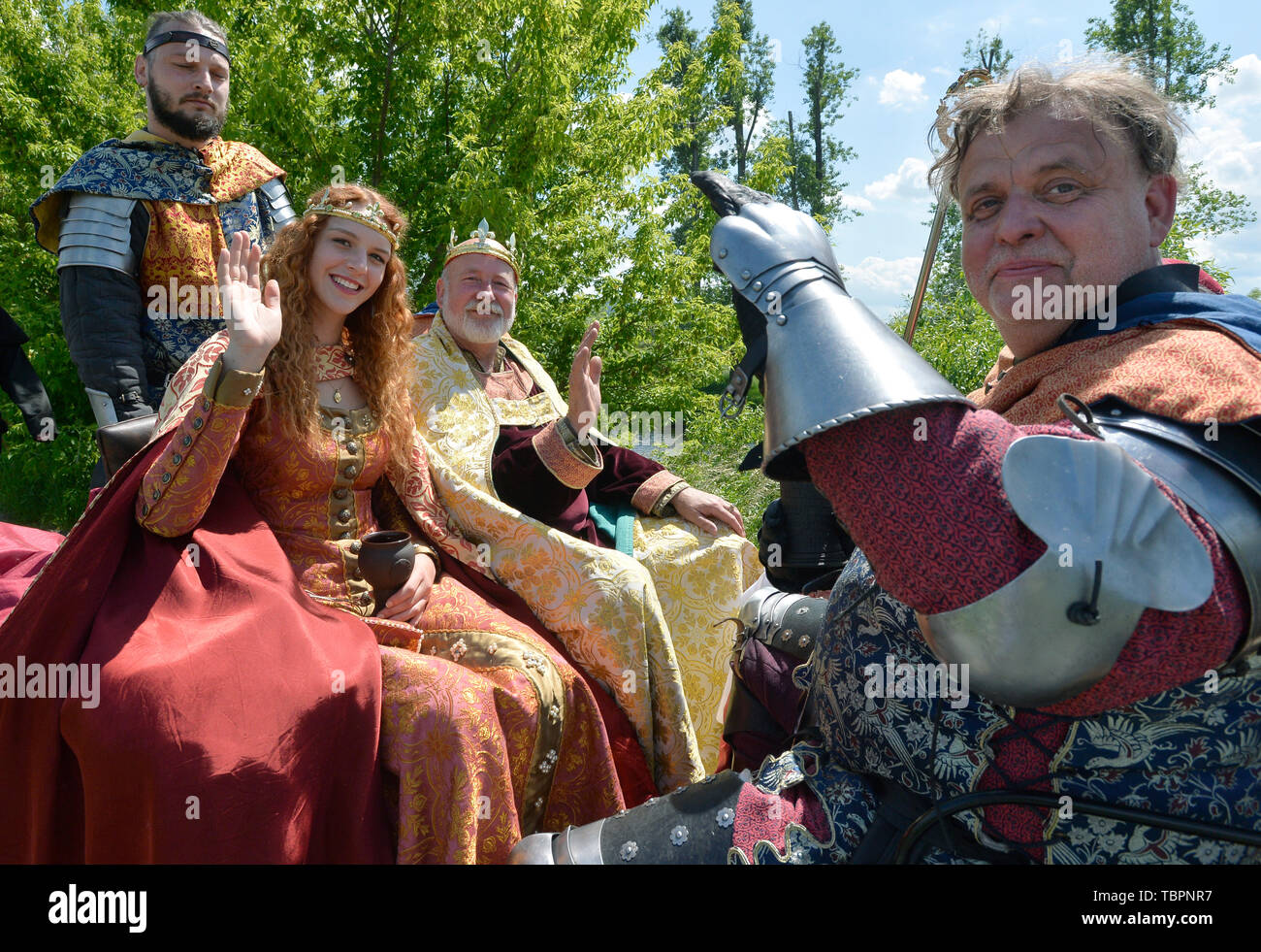 Prague, Czech Republic. 01st June, 2019. A two-day historic royal procession of emperor Charles IV and his suite with crown jewels sets out from Prague to Karlstejn Castle, Czech Republic, on June 1, 2019. Credit: Michaela Rihova/CTK Photo/Alamy Live News Stock Photo