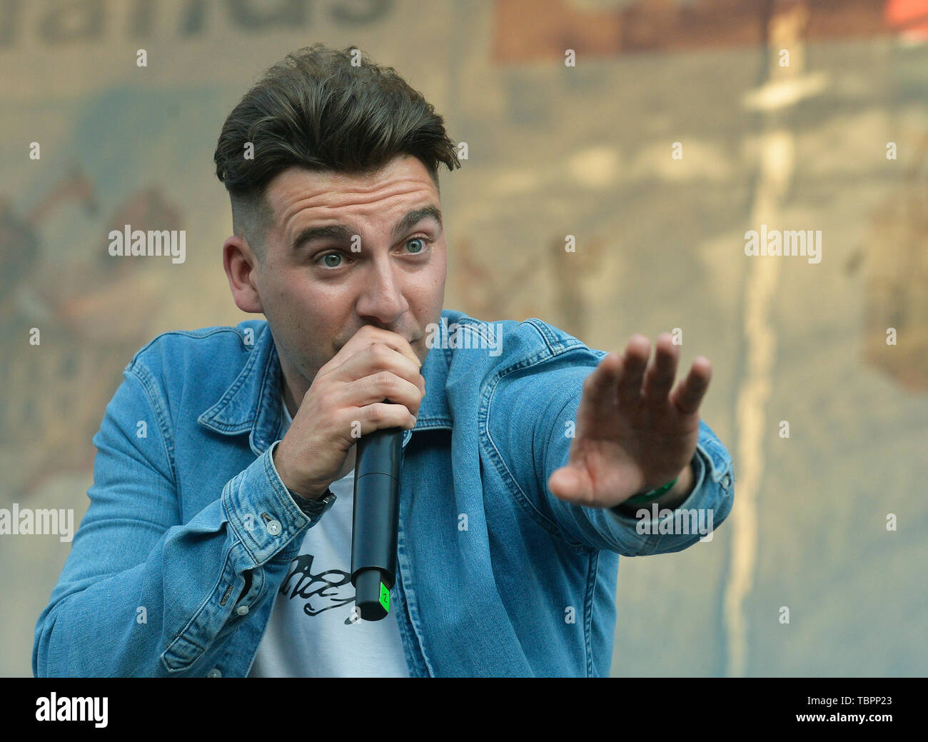 Prague, Czech Republic. 01st June, 2019. Singer Kerr Okan of The Lafontaines music band performs during the United Islands of Prague music festival in Prague, Czech Republic, on June 1, 2019. Credit: Michaela Rihova/CTK Photo/Alamy Live News Stock Photo