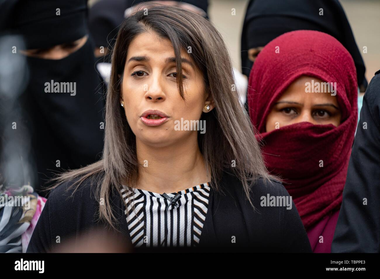 Birmingham, UK. 3rd Jun, 2019. Rosina Afsar speaks to press regarding the High Court injunction imposed on protesting outside Anderton Park primary school outside Birmingham City Council house, Birmingham, UK. Protesters object to teaching of LGBTQ+ values at the primary school. Credit: Vladimir Morozov - Stock Image