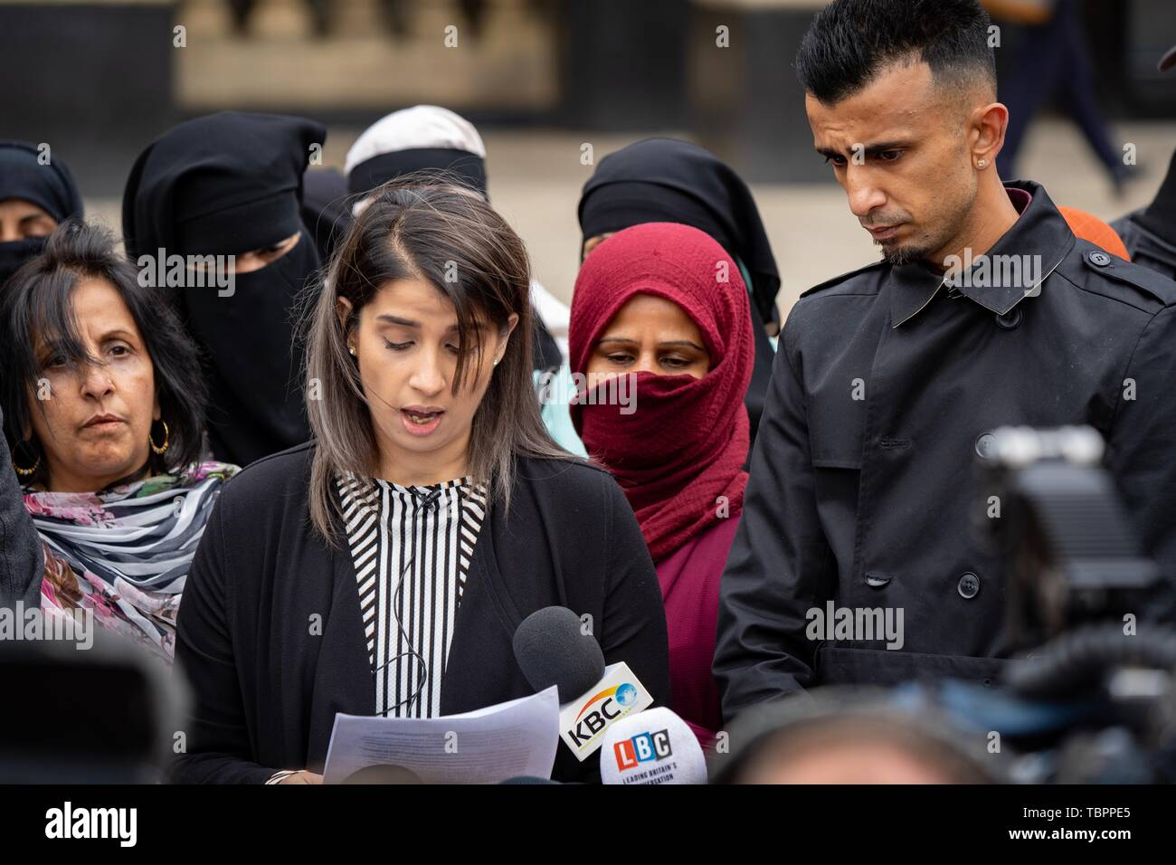 Birmingham, UK. 3rd Jun, 2019. Shakeel Afsar and Rosina Afsar speak to press regarding the High Court injunction imposed on protesting outside Anderton Park primary school outside Birmingham City Council house, Birmingham, UK. Protesters object to teaching of LGBTQ+ values at the primary school. Credit: Vladimir Morozov - Stock Image