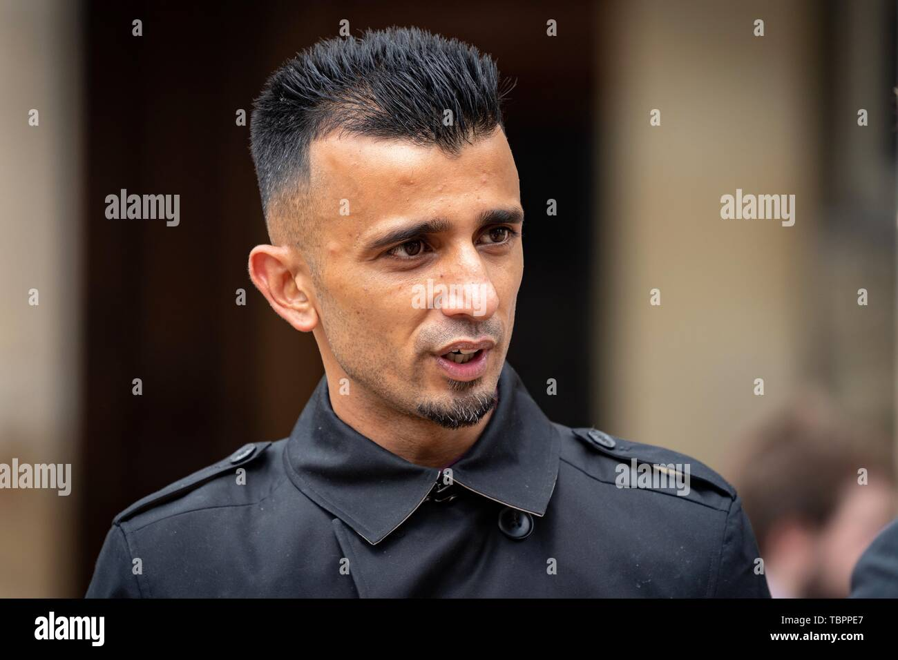 Birmingham, UK. 3rd Jun, 2019. Shakeel Afsar speaks to press regarding the High Court injunction imposed on protesting outside Anderton Park primary school outside Birmingham City Council house, Birmingham, UK. Protesters object to teaching of LGBTQ+ values at the primary school. Credit: Vladimir Morozov - Stock Image