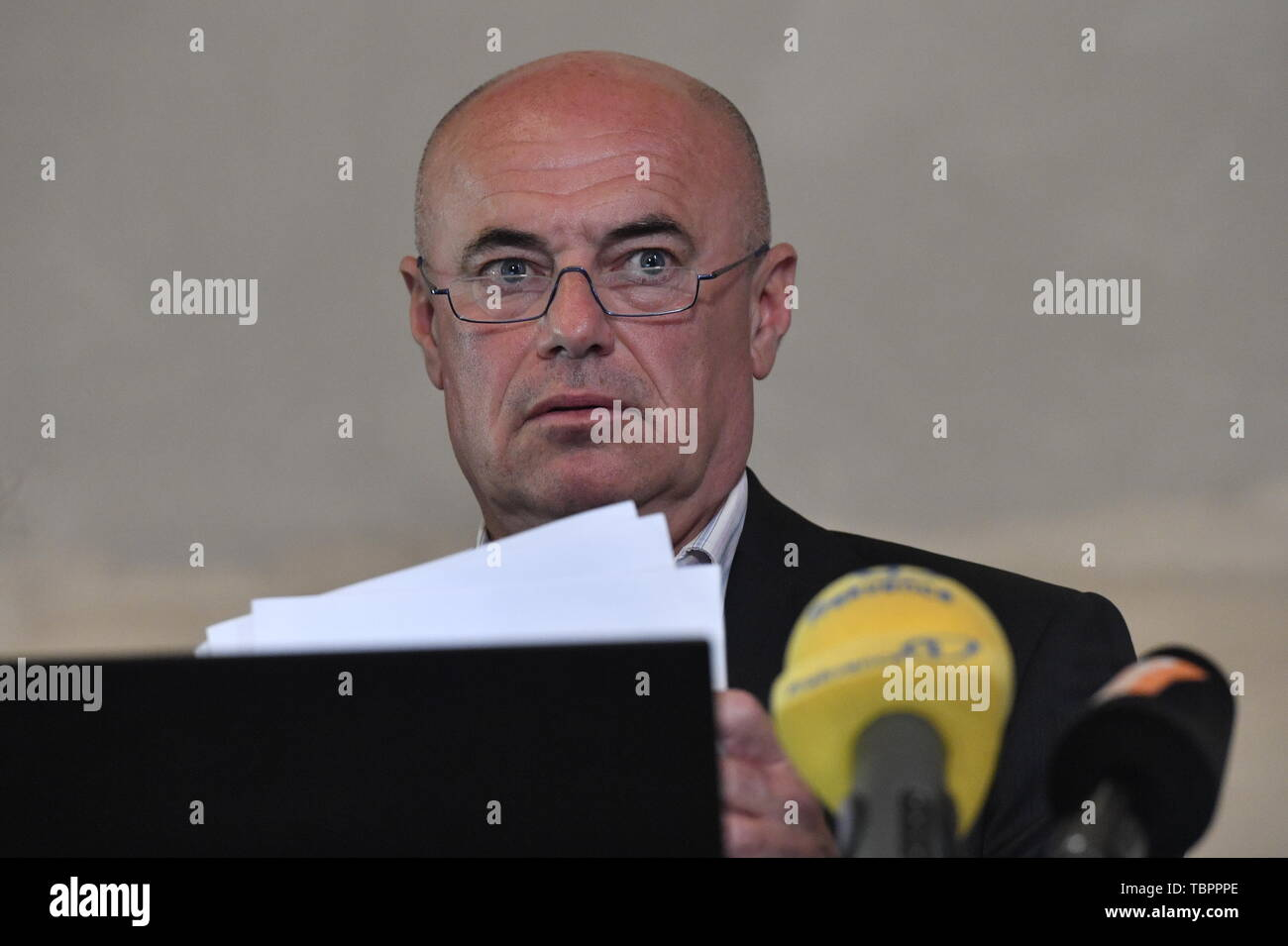 Prague, Czech Republic. 03rd June, 2019. Ivan Moravek, acting head of the National Gallery Prague (NGP), speaks during a press conference on the current situation in the gallery, on June 3, 2019, in Prague, Czech Republic. Credit: Vit Simanek/CTK Photo/Alamy Live News Stock Photo