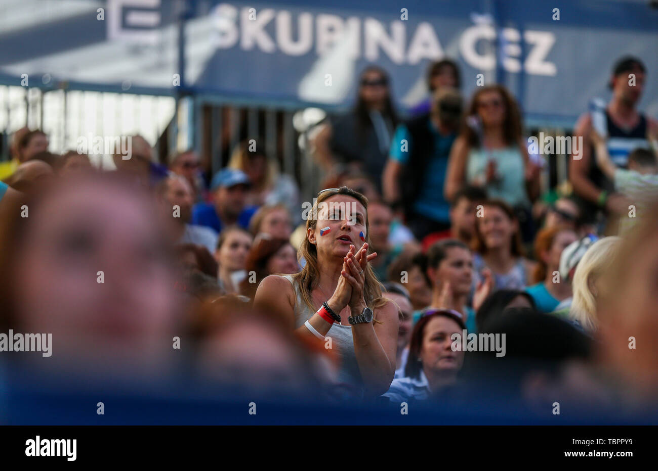 Ostrava, Czech Republic. 01st June, 2019. Fans are seen during the four-star J&T Banka Ostrava Beach Open 2019, part of the FIVB Beach Volleyball World Tour, in Ostrava, Czech Republic, on June 1, 2019. Credit: Petr Sznapka/CTK Photo/Alamy Live News Stock Photo
