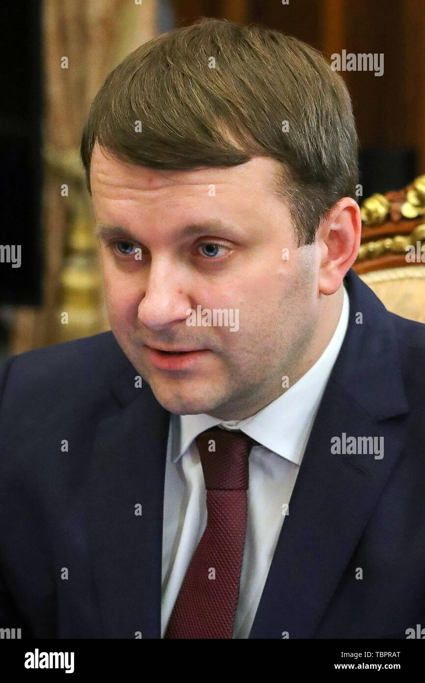 Moscow, Russia. 03rd June, 2019. MOSCOW, RUSSIA - JUNE 3, 2019: Russia's Economic Development Minister Maxim Oreshkin during a meeting with Russia's President Vladimir Putin (not in picture), at the Moscow Kremlin. Mikhail Klimentyev/Russian Presidential Press and Information Office/TASS Credit: ITAR-TASS News Agency/Alamy Live News - Stock Image