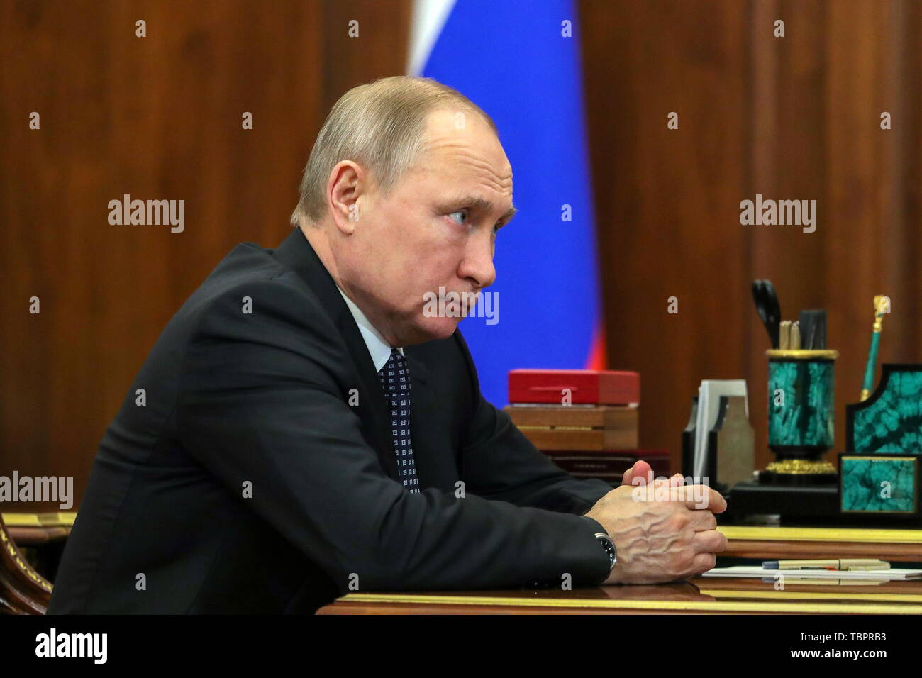 Moscow, Russia. 03rd June, 2019. MOSCOW, RUSSIA - JUNE 3, 2019: Russia's President Vladimir Putin during a meeting with Russia's Economic Development Minister Maxim Oreshkin (not in picture), at the Moscow Kremlin. Mikhail Klimentyev/Russian Presidential Press and Information Office/TASS Credit: ITAR-TASS News Agency/Alamy Live News - Stock Image