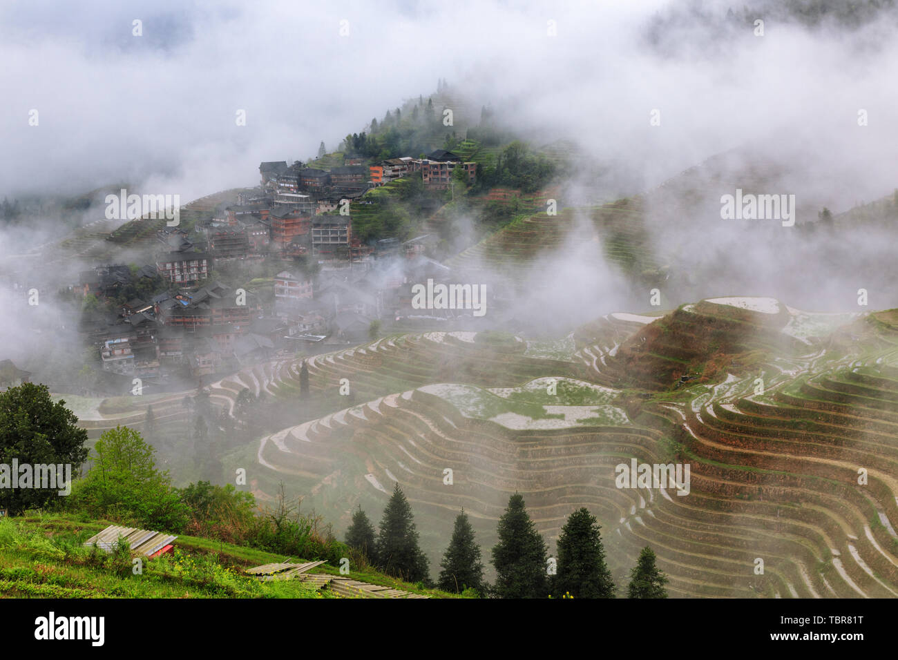 Landscape fog and mist. No one touches mountains and waters Stock Photo