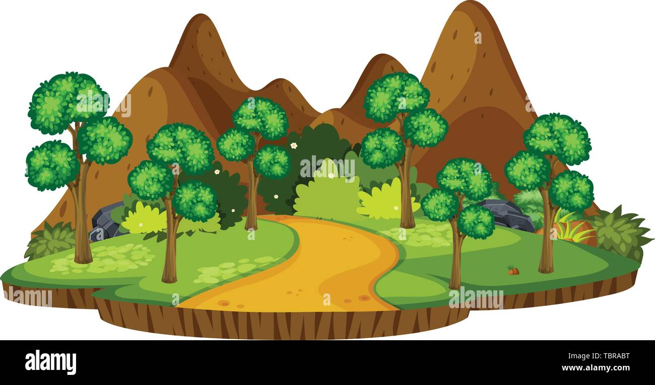 Isolated outdoor park island illustration - Stock Vector