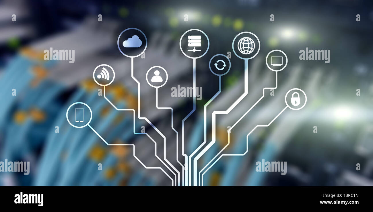 IOT. Internet of Things. Information Communication Network. Artificial Intelligence. Website banner. Datacenter background - Stock Image