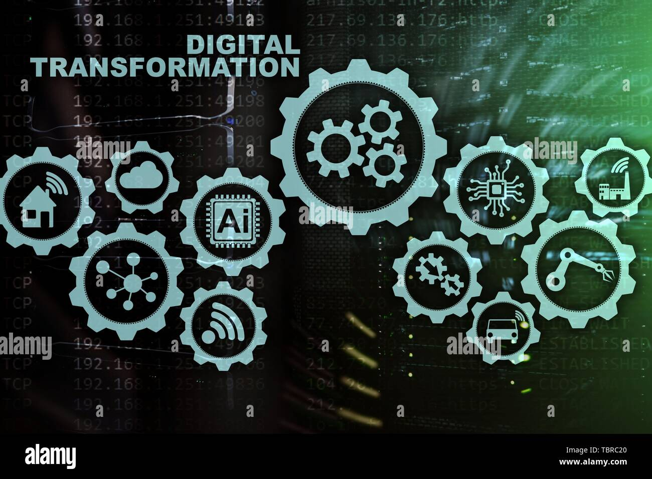 Digital Transformation Concept of digitalization of technology business processes. Datacenter background - Stock Image
