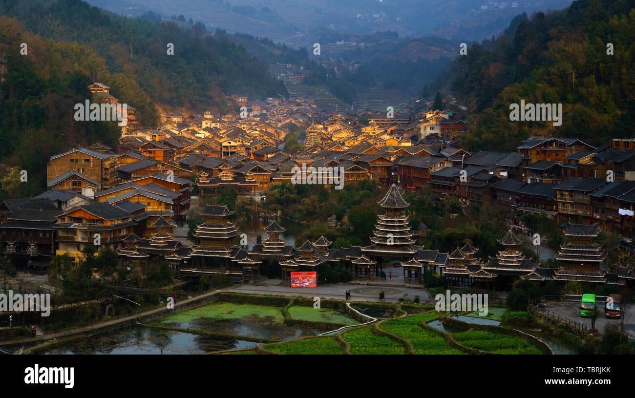 Guizhou Zhaoxing Dong Zhai Scenery Stock Photo