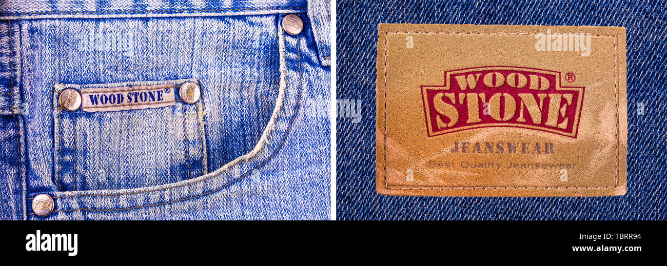 323fb02c Kamchatka - October- 10, 2016: Closeup of WOOD STONE's leather jeans label  isolated