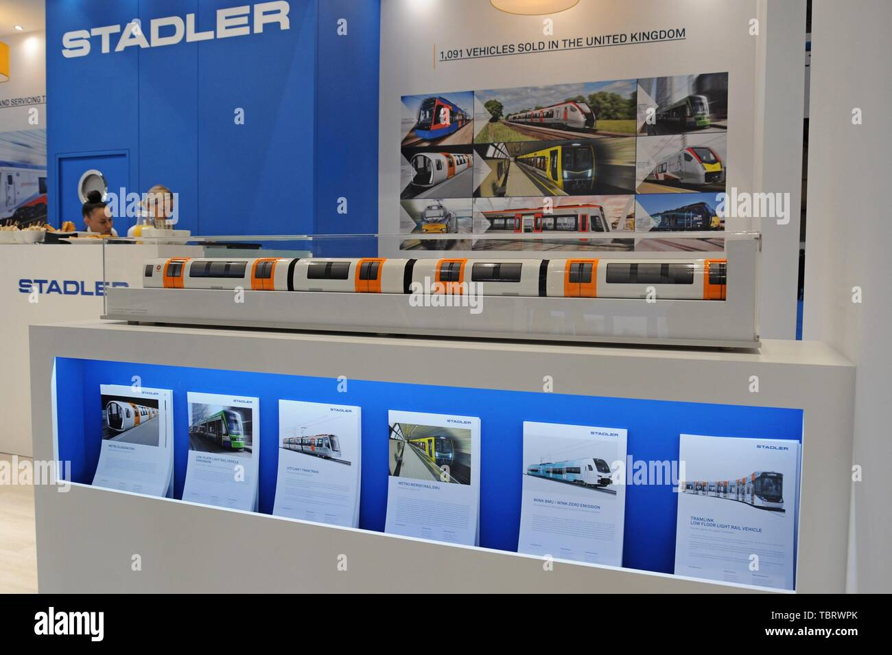 Modle of the new Glasgow subway train on the Stadler Rail stand at the RailTex Railway industry exhibition, NEC, Birmingham April 2019 - Stock Image