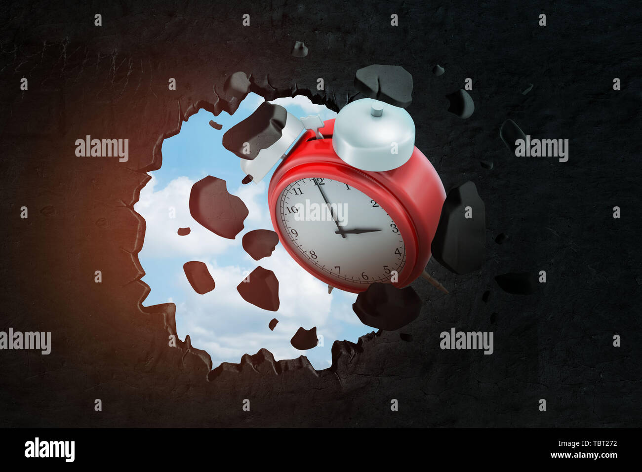 3d close-up rendering of red alarm clock punching big hole in black wall with pieces of wall flying around and with blue sky seen through hole. - Stock Image