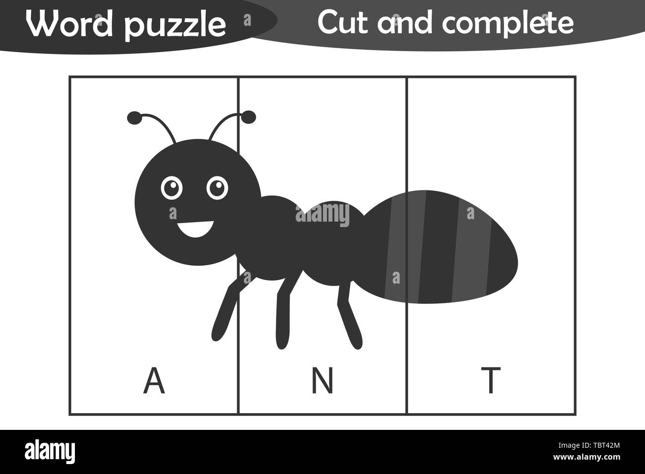 Word puzzle, ant in cartoon style, education game for development of preschool children, use scissors, cut parts of the image and complete the picture - Stock Image