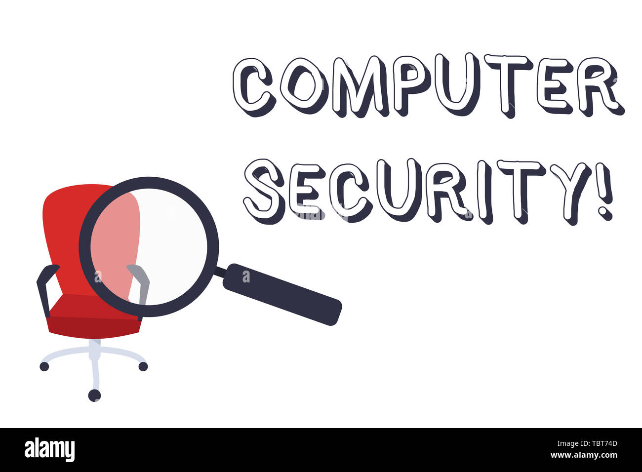 Conceptual hand writing showing Computer Security. Concept meaning protection of computer systems from theft or damage Magnifying Glass Directed at Re - Stock Image