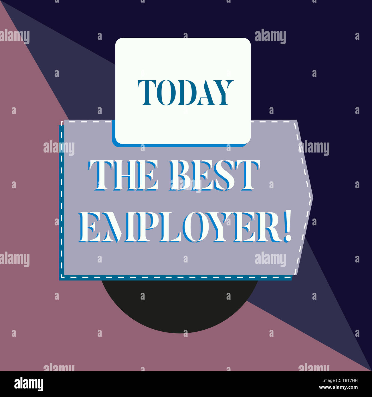 Conceptual hand writing showing The Best Employer. Concept meaning created workplace showing feel heard and empowered Banner rectangle square above se - Stock Image