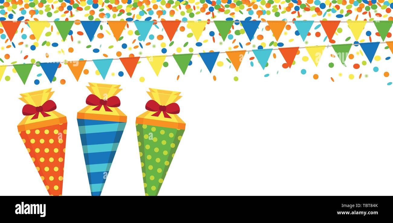 colorful confetti rain party flags and school cone on white background vector illustration EPS10 - Stock Image