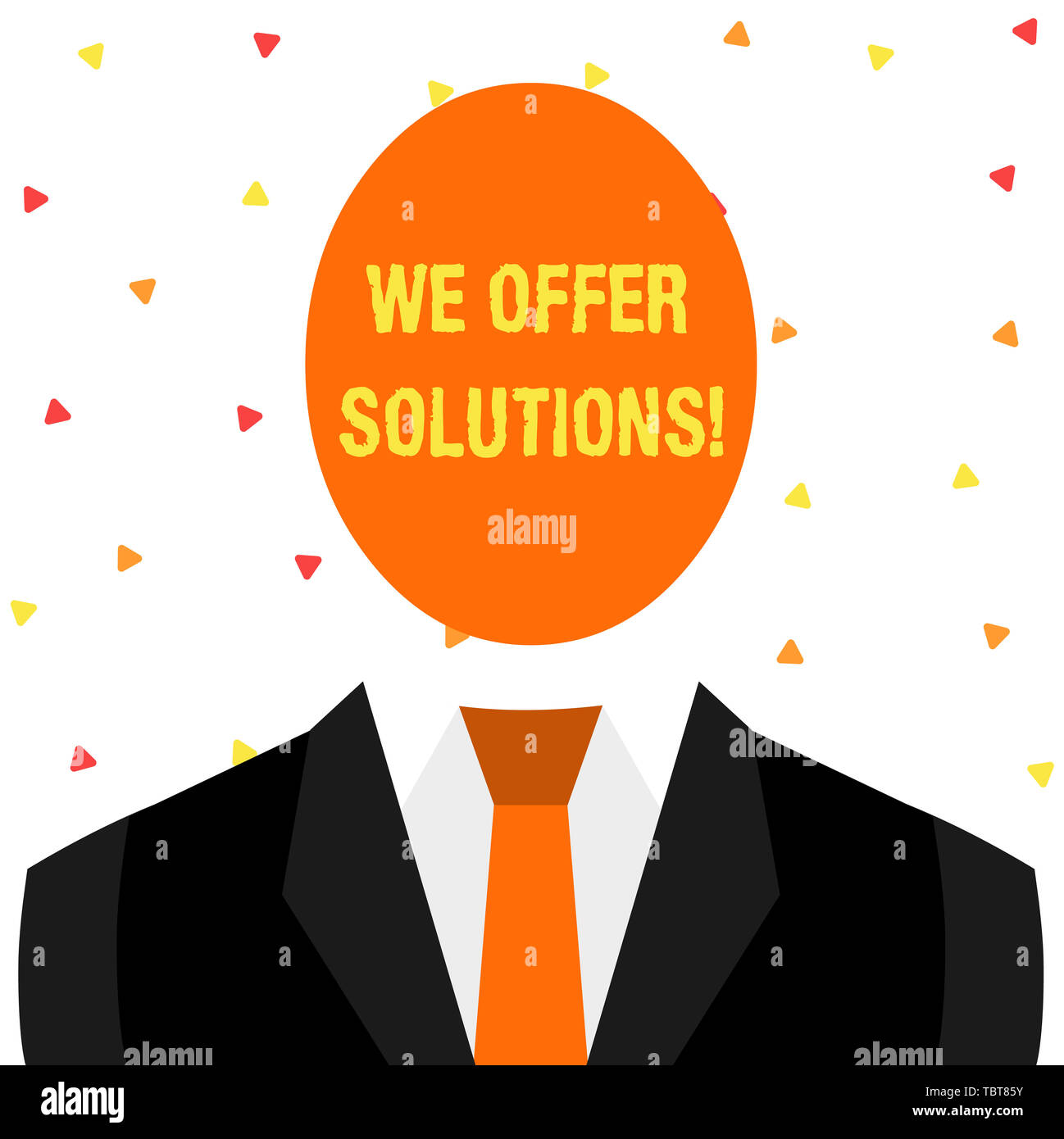 Writing note showing We Offer Solutions. Business concept for way to solve problem or deal with difficult situation Symbolic Drawing Figure of Man For - Stock Image