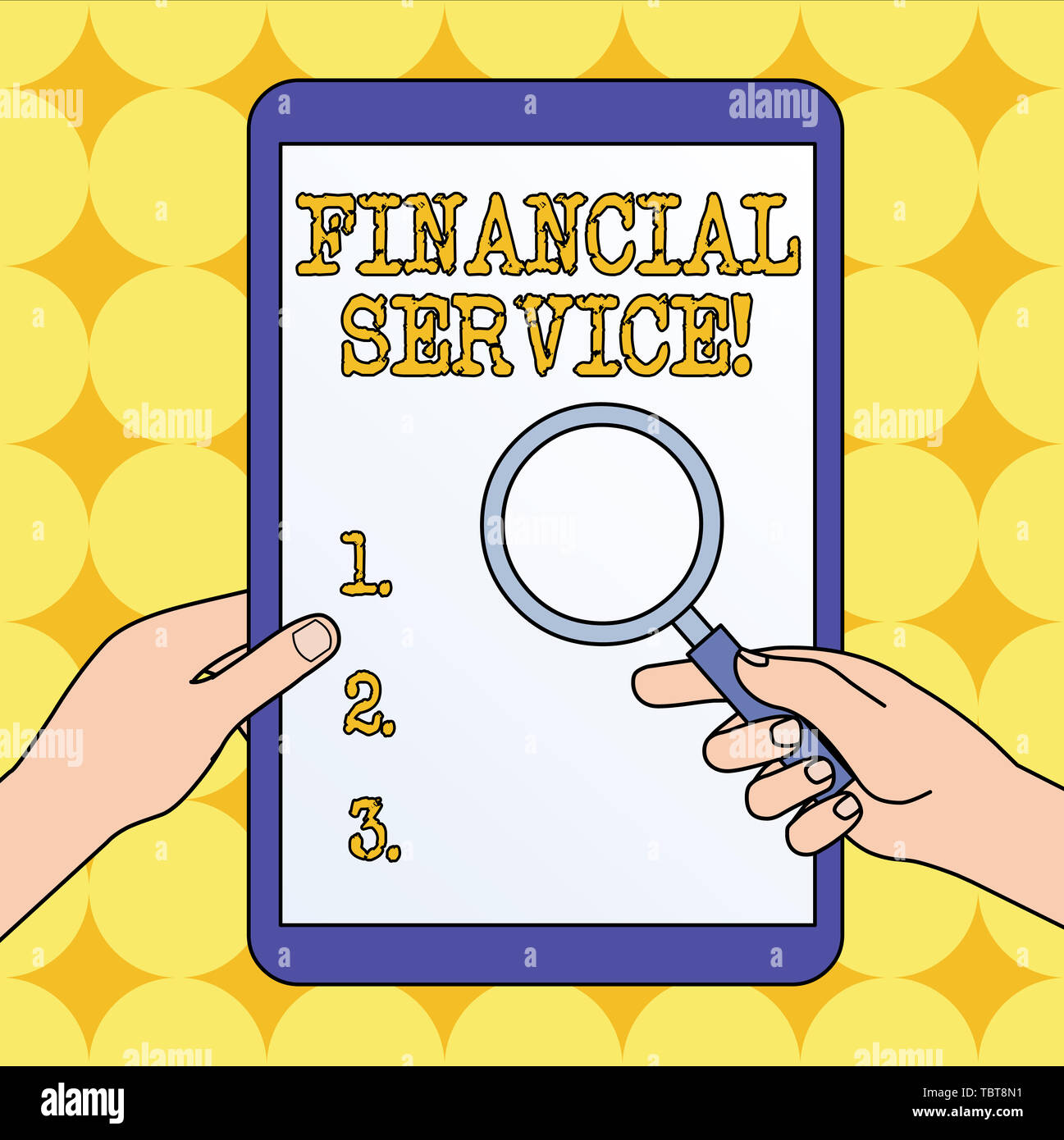 Text sign showing Financial Service. Business photo text economic services provided by the finance industry Hands Holding Magnifying Glass Against Swi - Stock Image