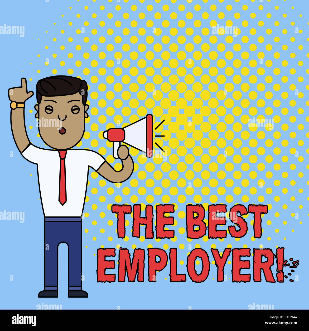 Conceptual hand writing showing The Best Employer. Concept meaning created workplace showing feel heard and empowered Man Standing with Raised Right I - Stock Image