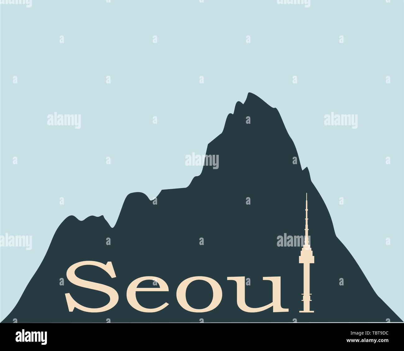 Namsan tower in Seoul icon - Stock Vector