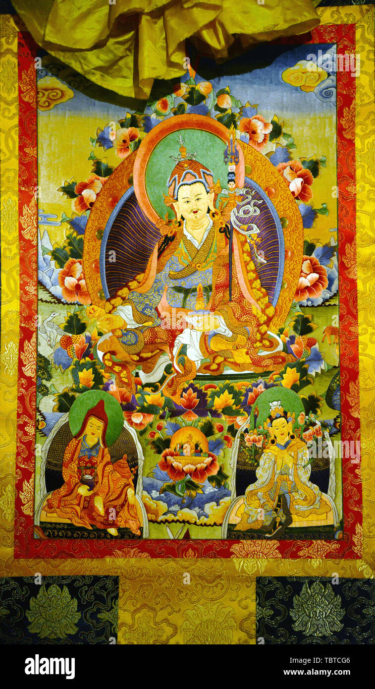 The figure of Buddha, the traditional thangka - Stock Image