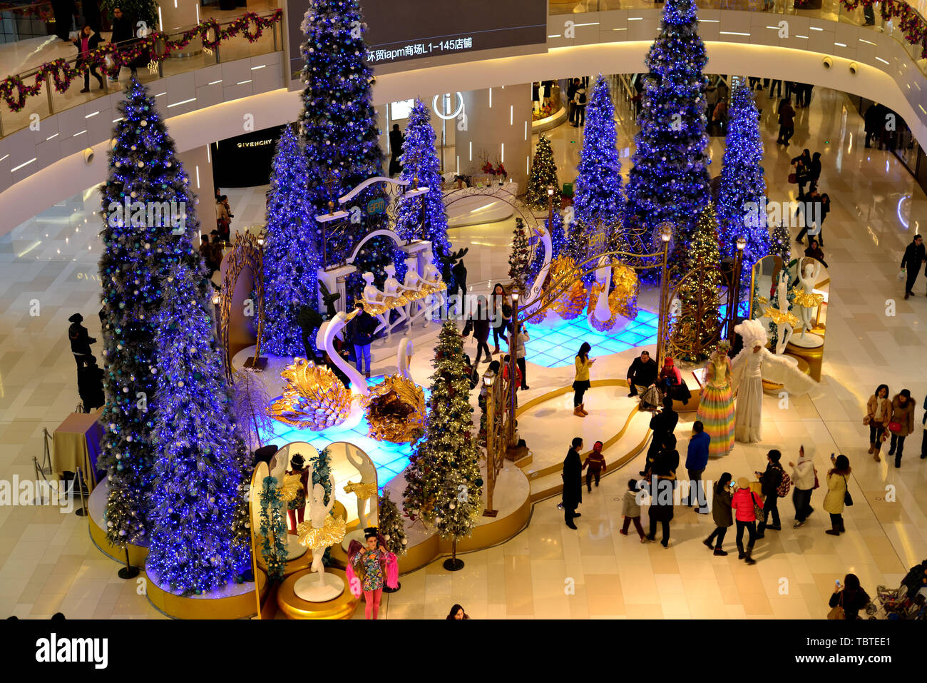 Christmas decorations in the central hall of the large mall. Stock Photo