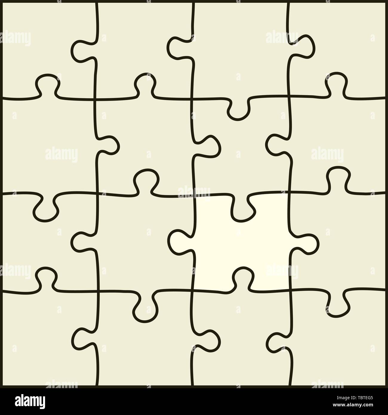 Vector illustration. Simple puzzle pieces that can separate each one. Stock Vector