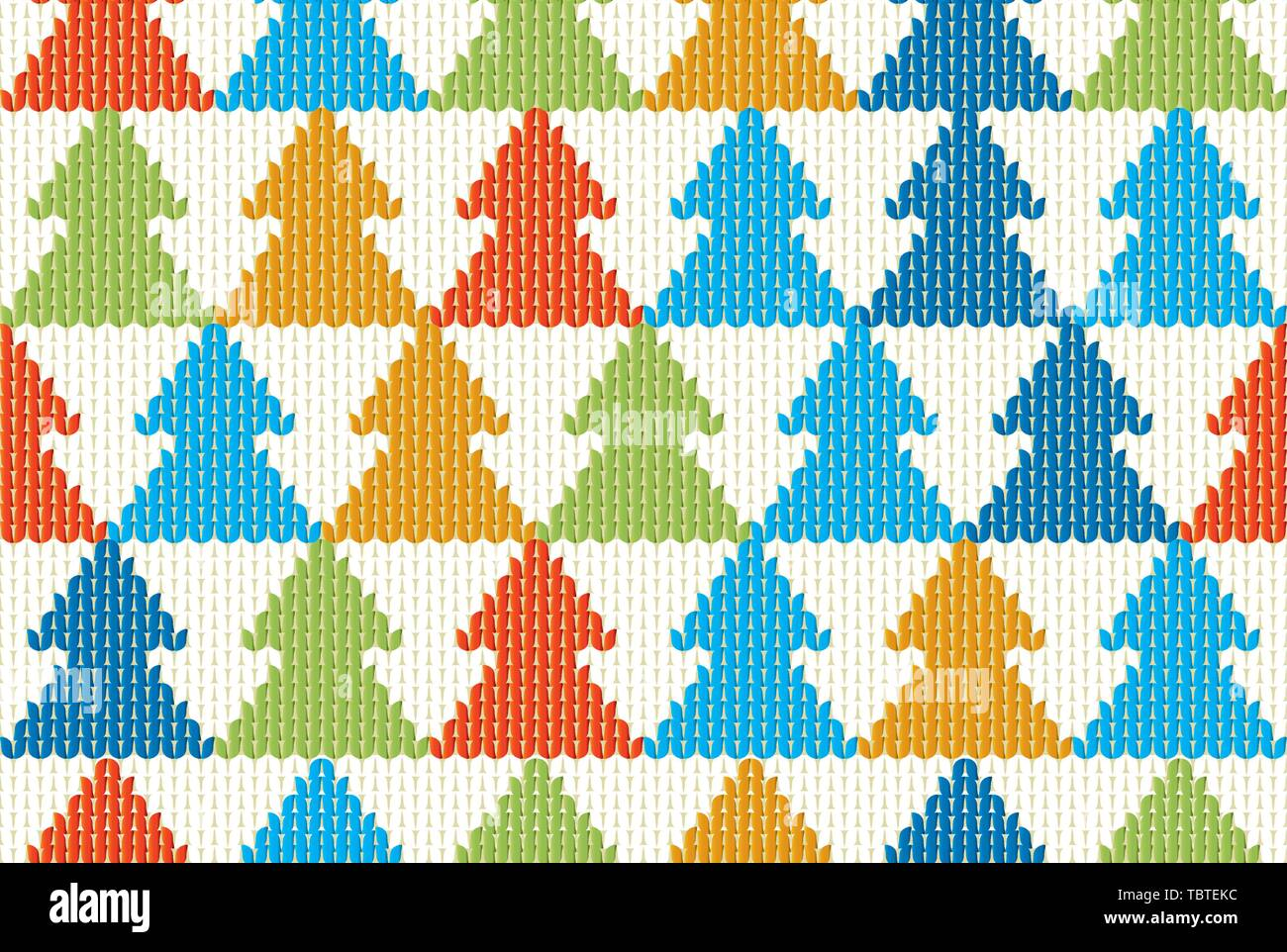 Vector illustration. Seamless textile Christmas background with tree pattern. - Stock Vector