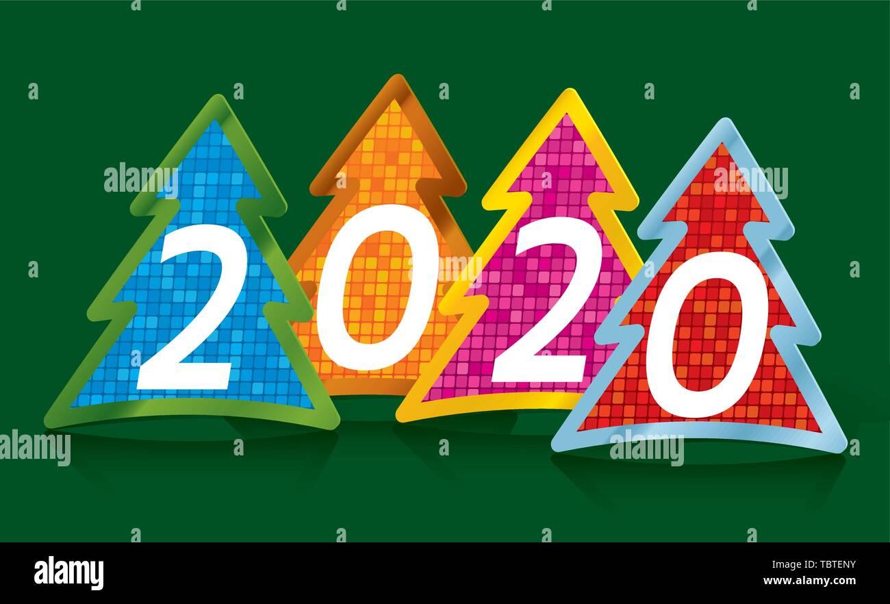 Art Christmas Cards 2020 Vector illustration. Year 2020 greeting Christmas card drawing