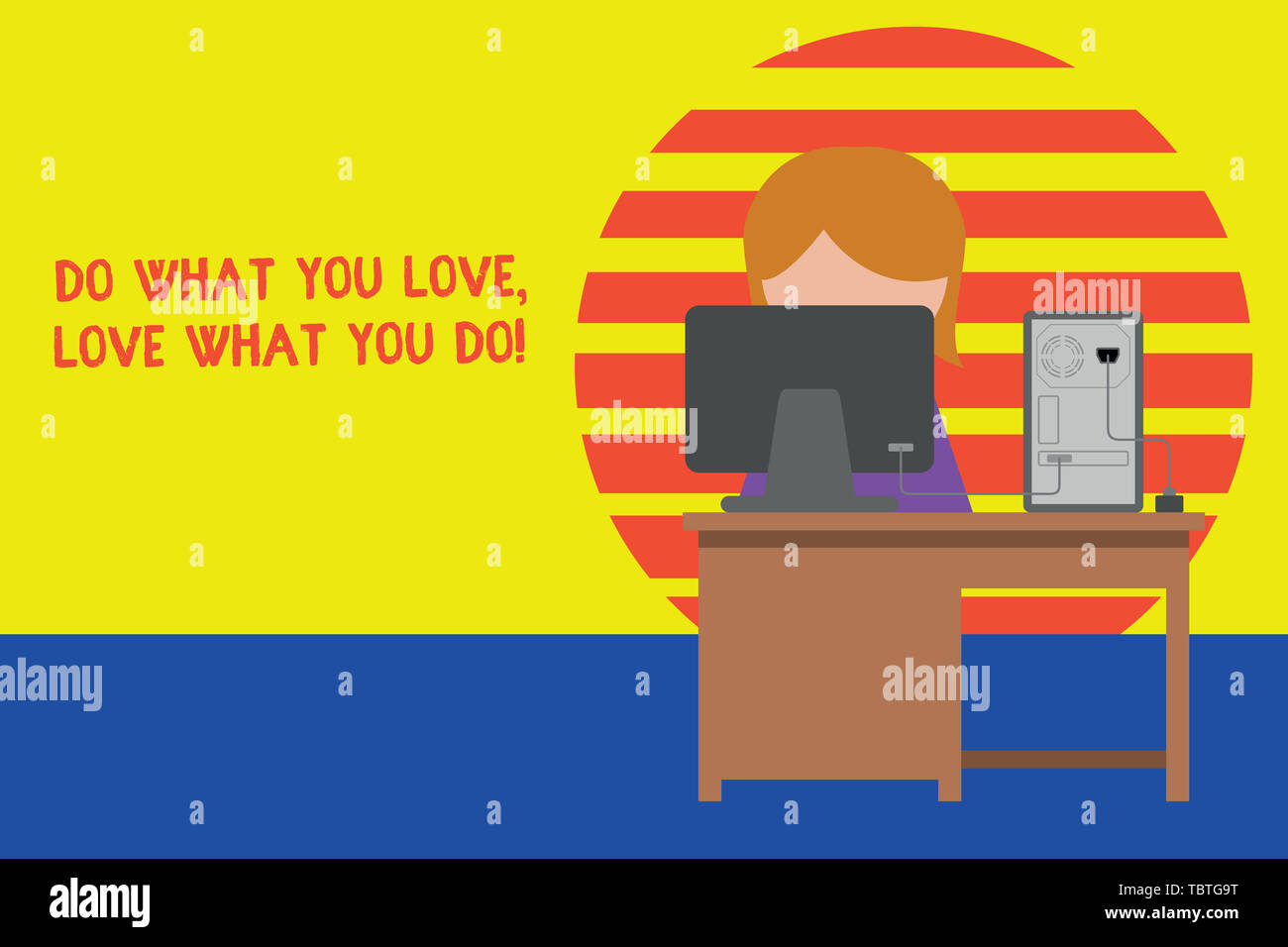 Writing note showing Do What You Love Love What You Do. Business concept for you able doing stuff you enjoy it to work in better places then Young fem - Stock Image