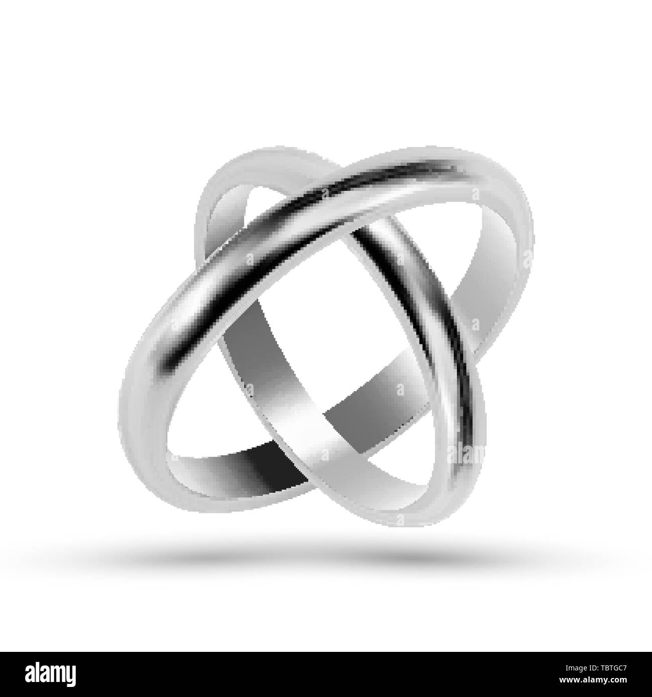 Silver Or Platinum Jewelry Wedding Rings Vector - Stock Image