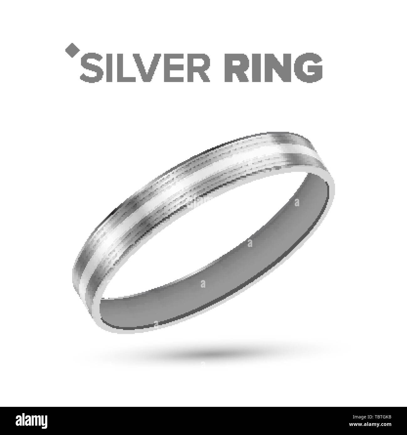 Classic Silver Ring With White Gold Detail Vector - Stock Image