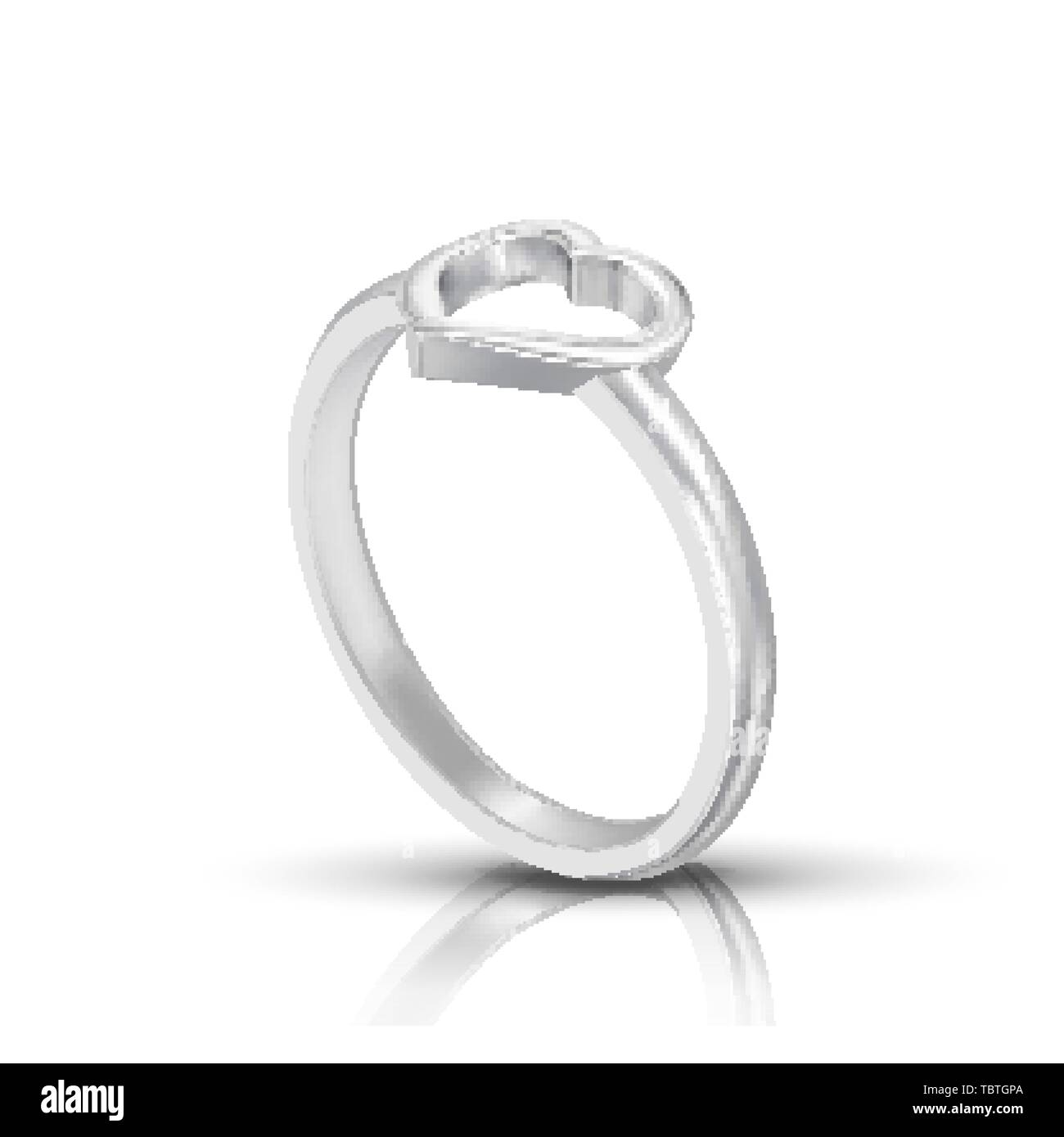 Silver Ring With Shape Of Heart On Top Vector - Stock Image