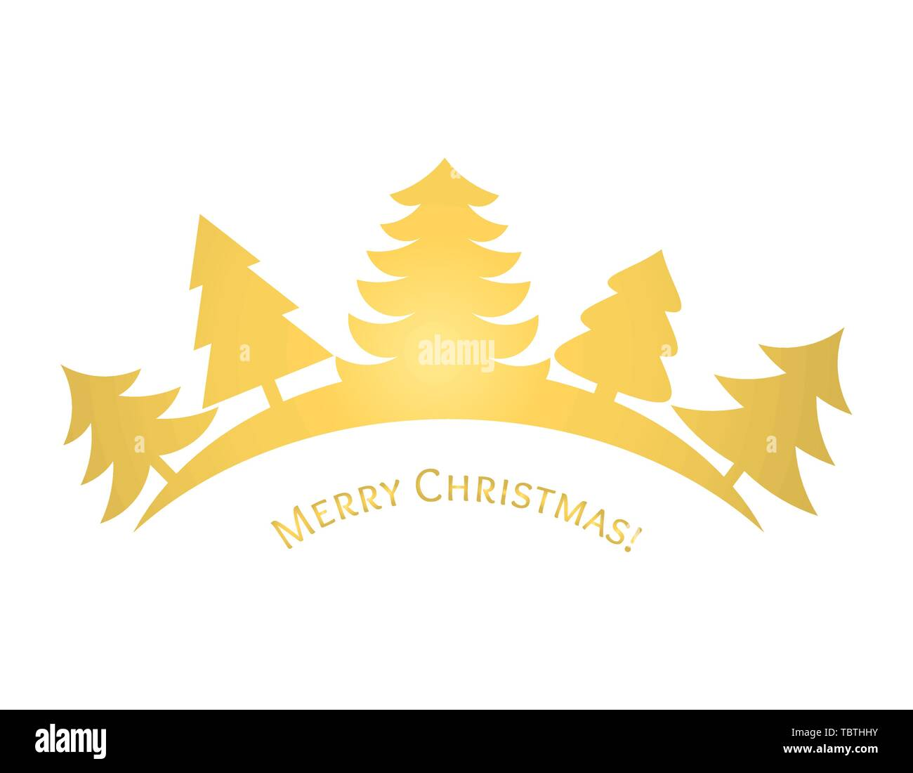 Golden Christmas trees. Vector illustration - Stock Image