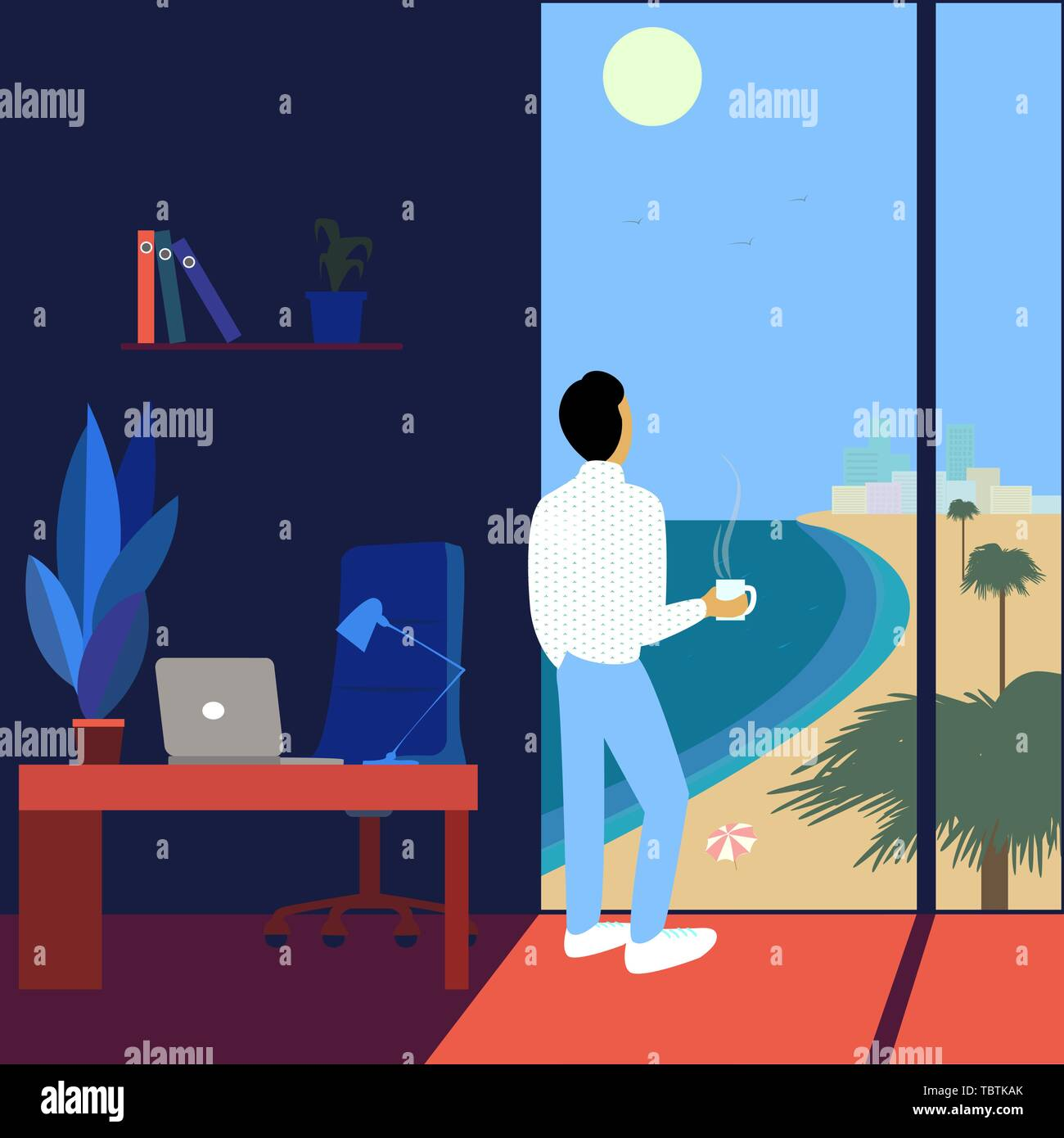 Working man dreams about vacation watching the sea-scape. Flat vector illustration - Stock Vector
