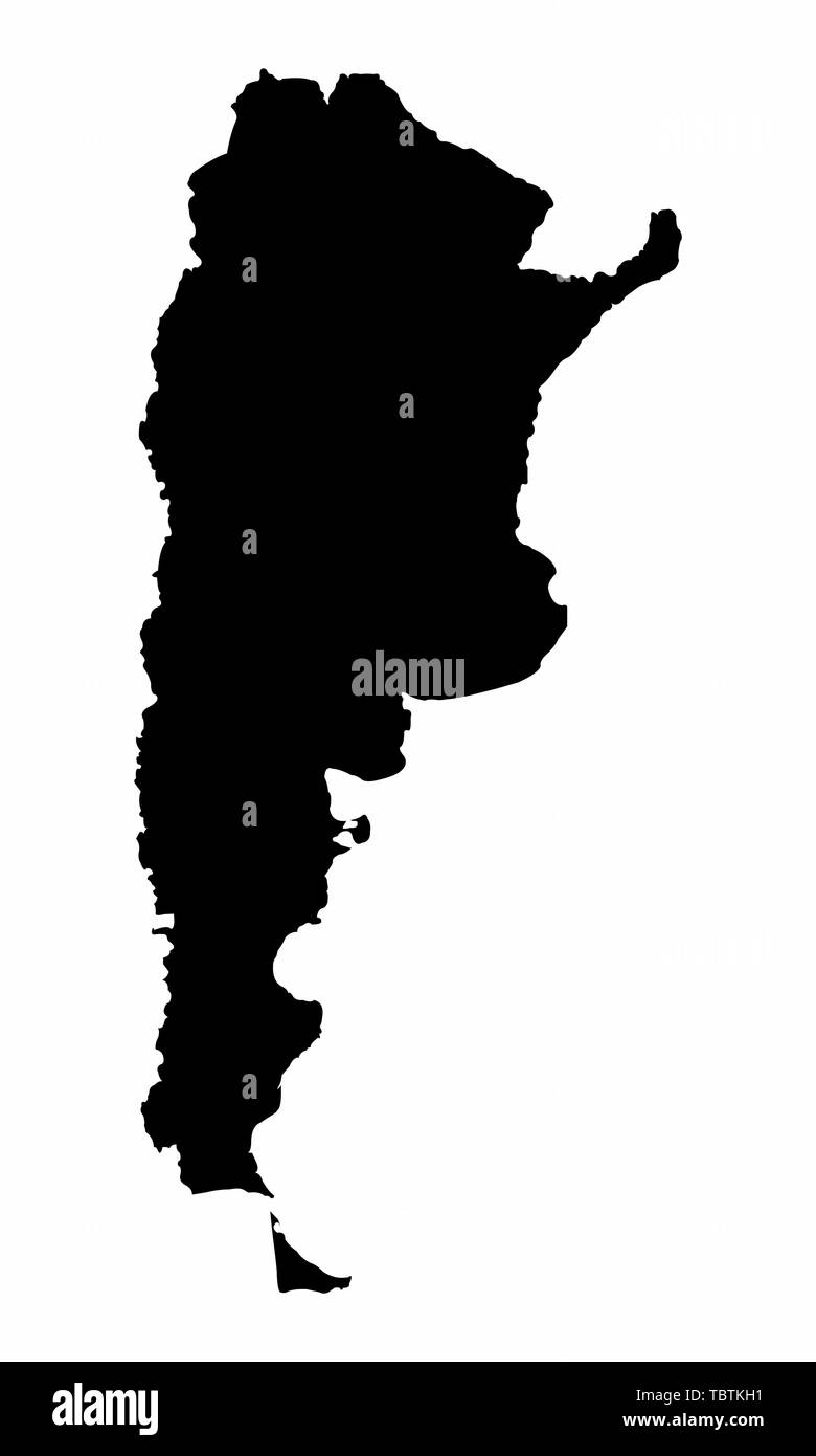 Argentina map dark silhouette isolated on white background Stock Vector