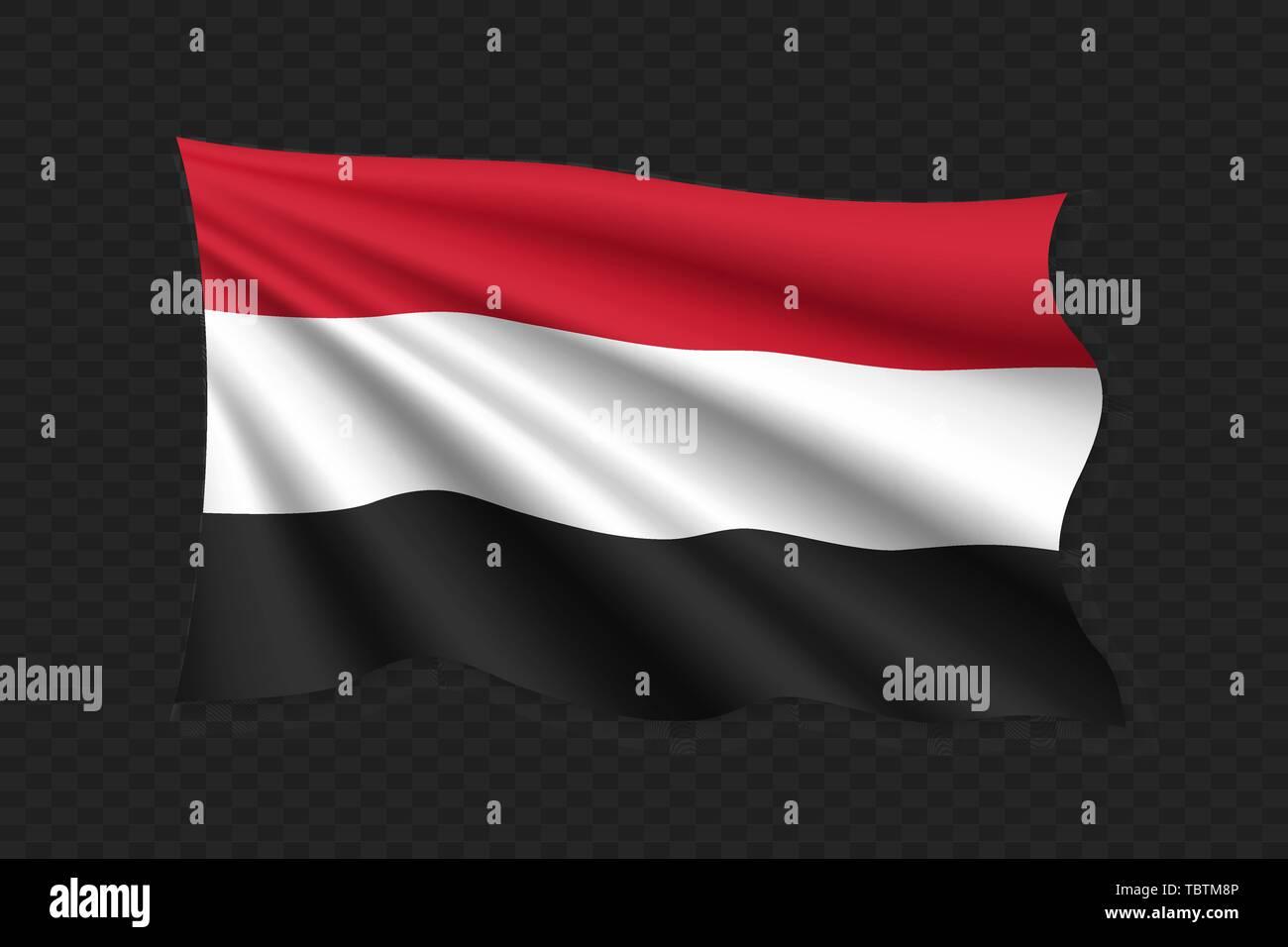 3D Waving Flag of Yemen. Vector illustration - Stock Vector