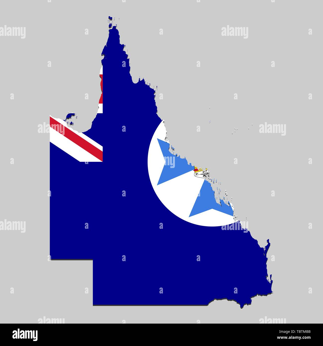 Map Of Australia By State.Map Of Queensland Is A State Australia With Flag Vector