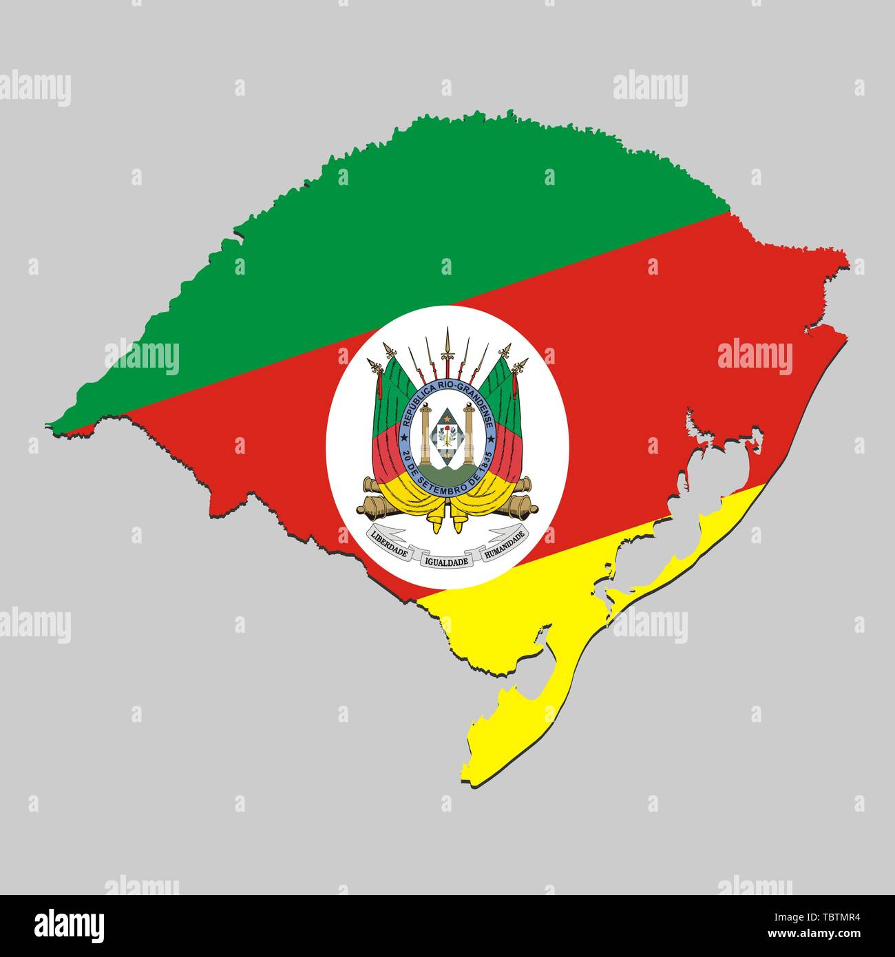 Map of Rio Grande do Sul is a state Brazil with national flag. Vector Illustration Stock Vector
