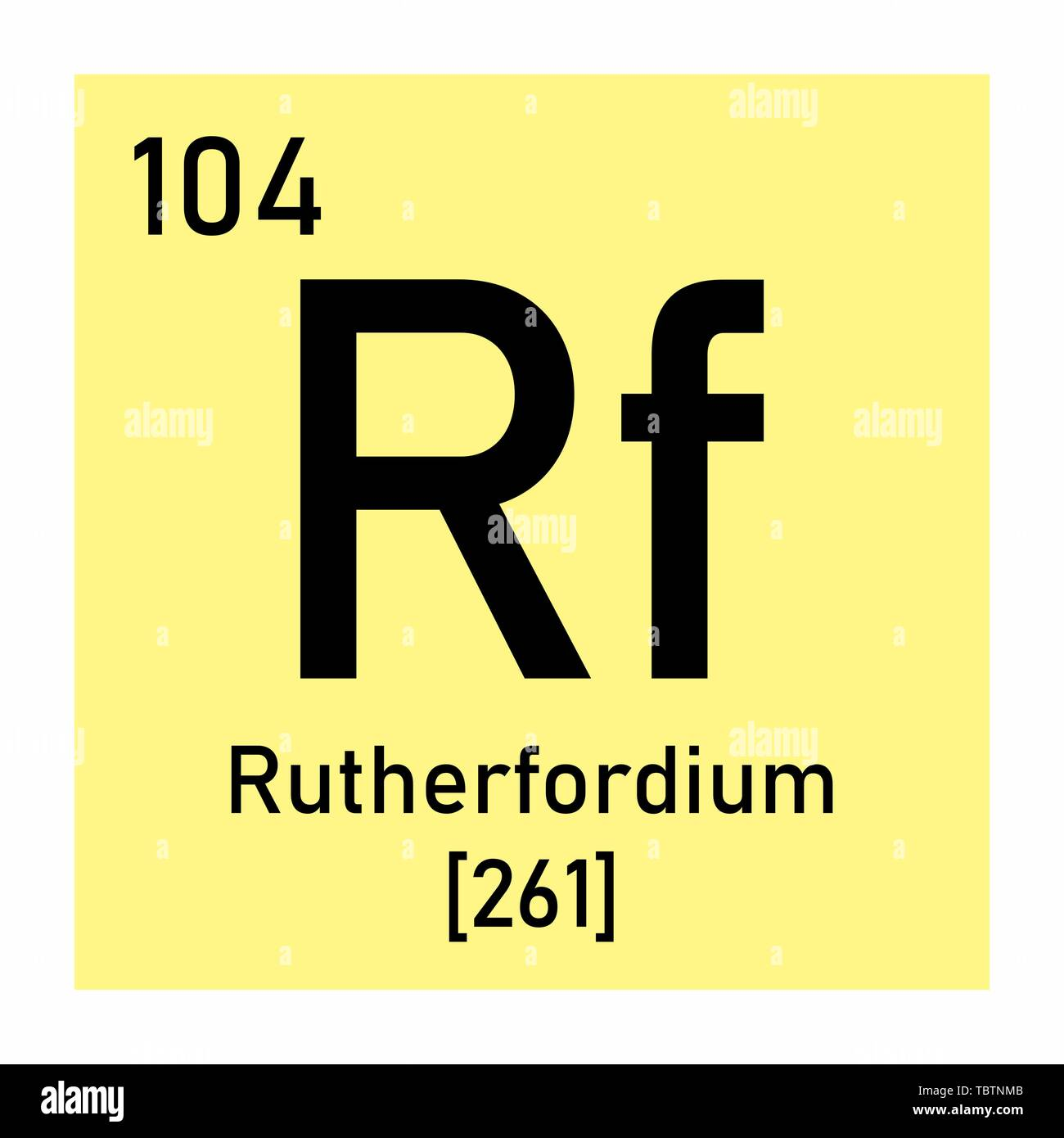 Illustration of the periodic table Rutherfordium chemical symbol Stock Vector