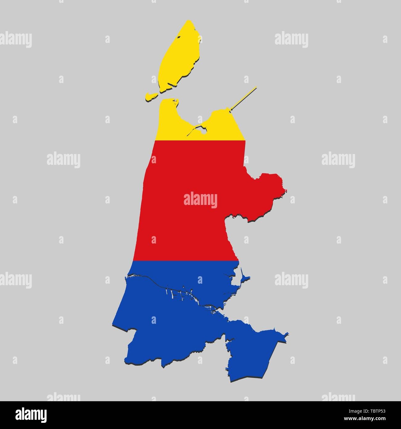 Map of North Holland is a state Netherlands with flag. Vector Illustration - Stock Vector