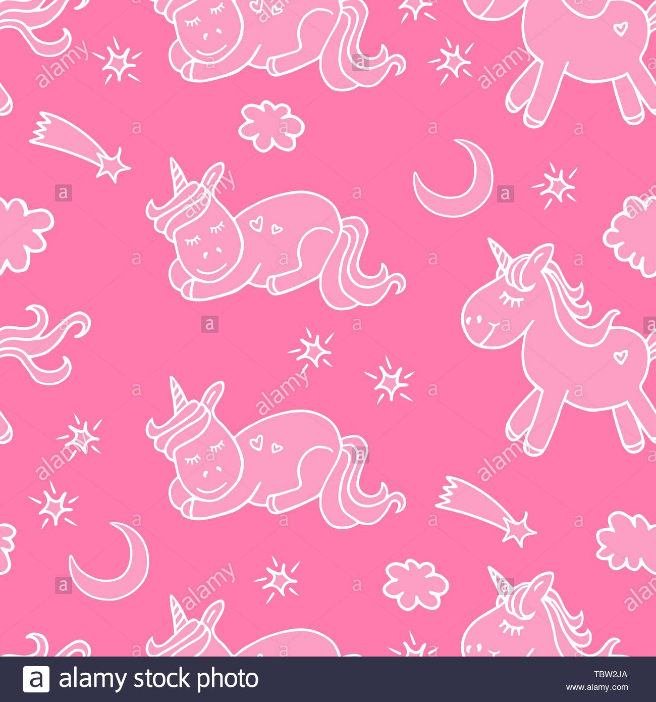Seamless Pattern With Unicorn Moon And Stars Cute And Lovely