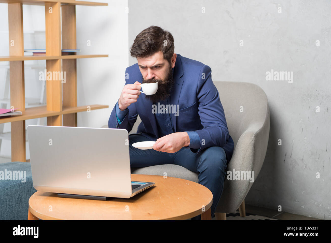 Business correspondence. Modern businessman. Businessman work laptop. Responding business email. Surfing internet. Project manager. Digital business. Financial consultation. Banker or accountant. - Stock Image