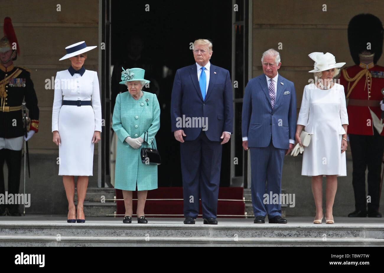 US President Donald Trump and his wife Melania are welcomed