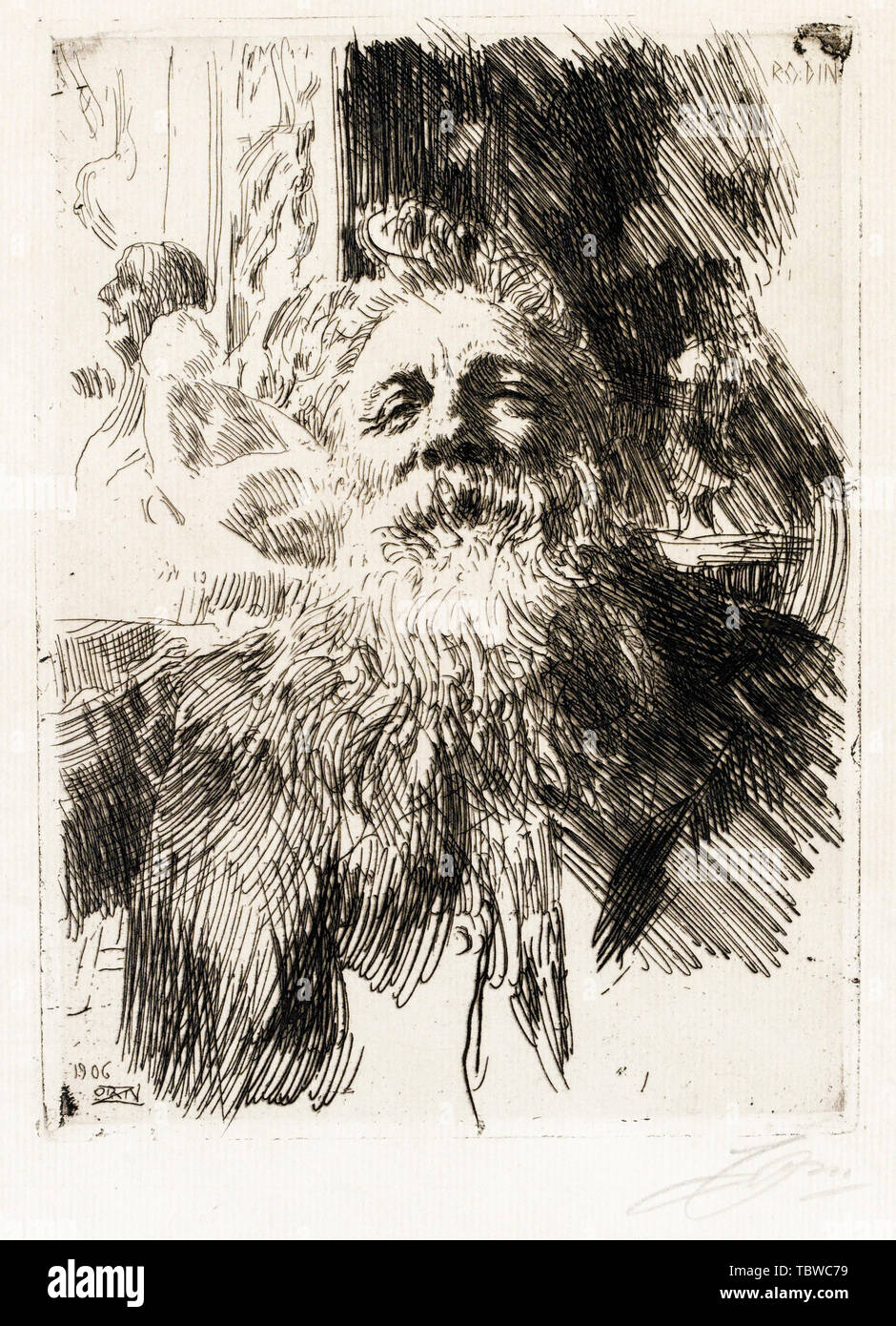 Auguste Rodin, Portrait of the artist, etching by Anders Zorn, 1906 - Stock Image